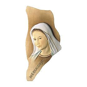 Rilievo Madonna di Medjugorje legno dipinto Val Gardena s1