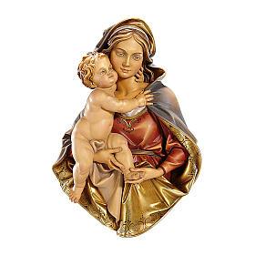 Rilievo Madonna busto da appendere legno dipinto Val Gardena s1