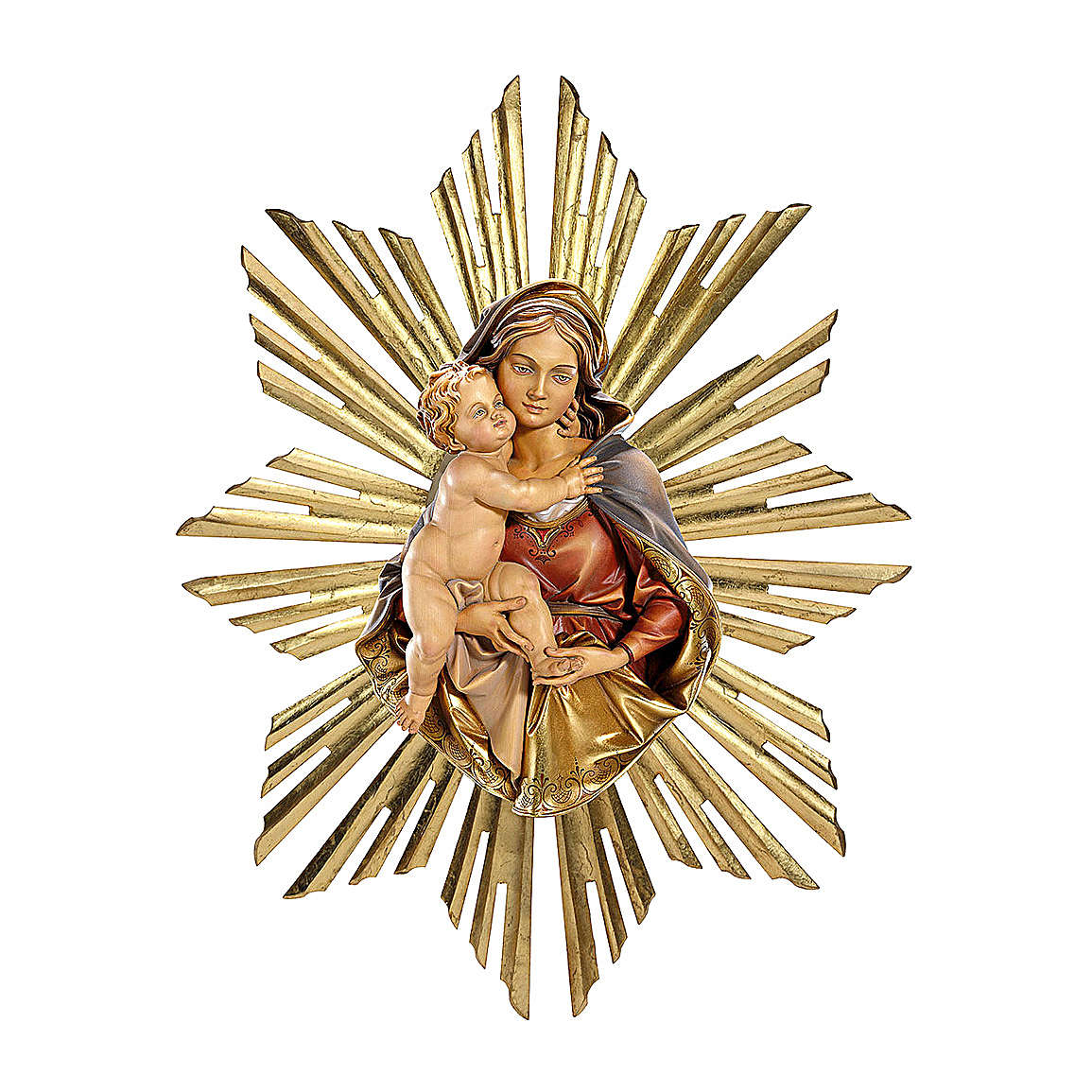 Sculpture to hang Virgin bust with halo in painted wood, Val Gardena 14-21 cm 4