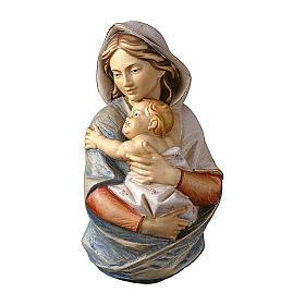 Rilievo Madonna busto da parete legno dipinto Val Gardena 9-15-23 cm s1