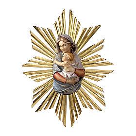 Rilievo Madonna busto con raggiera da appendere legno dipinto Val Gardena s1