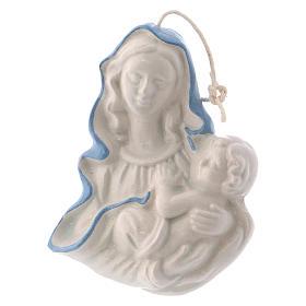 Icône Vierge Enfant céramique Deruta blanche détails bleus 5x5x1 cm