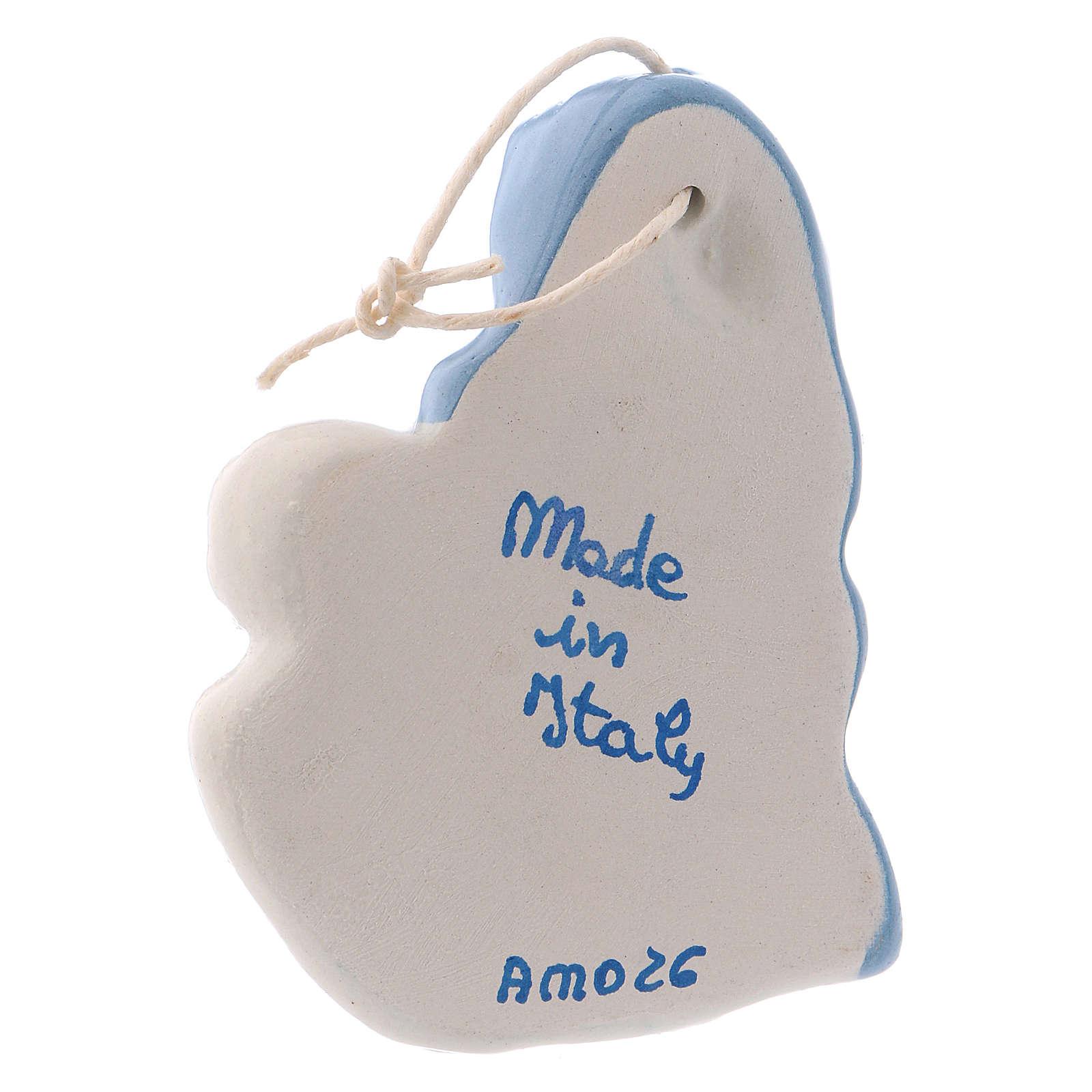 Iconcina Madonna Bambino ceramica Deruta bianca dettagli blu 5x5x1 cm 4