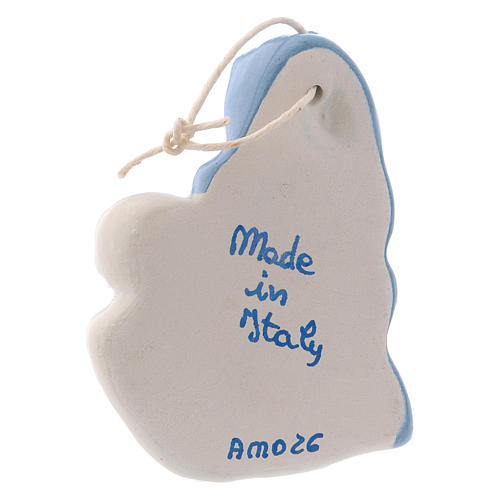 Iconcina Madonna Bambino ceramica Deruta bianca dettagli blu 5x5x1 cm 3