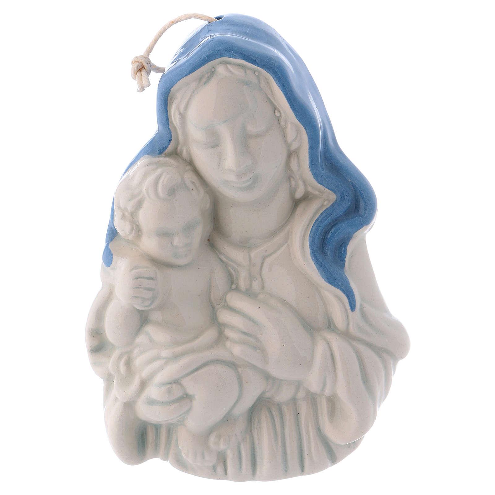 Icono cerámica blanca Deruta Virgen Niño en brazos 10x5x2 cm 4