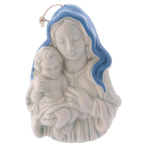 Icono cerámica blanca Deruta Virgen Niño en brazos 10x5x2 cm 1