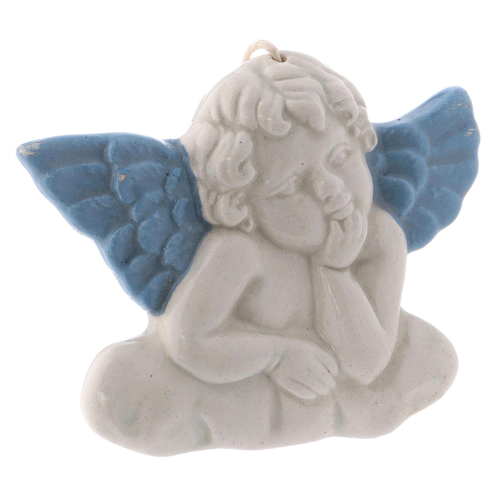 Icono Virgen de cerámica Deruta blanca detalles azules 10x10x5 cm 4
