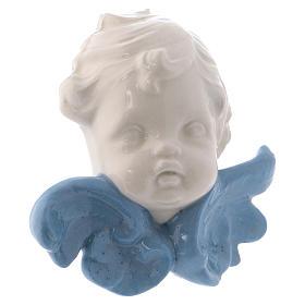 Icono Virgen de cerámica Deruta blanca detalles azules 10x10x5 cm s11