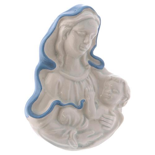 Icono Virgen de cerámica Deruta blanca detalles azules 10x10x5 cm 2