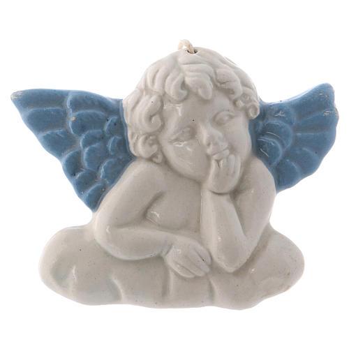 Icono Virgen de cerámica Deruta blanca detalles azules 10x10x5 cm 7