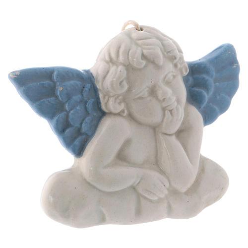 Icono Virgen de cerámica Deruta blanca detalles azules 10x10x5 cm 8