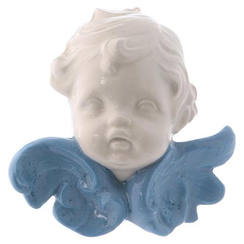 Icono Virgen de cerámica Deruta blanca detalles azules 10x10x5 cm 10