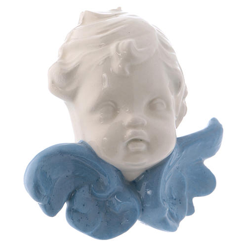 Icono Virgen de cerámica Deruta blanca detalles azules 10x10x5 cm 11