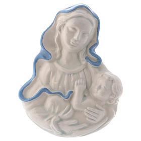 Icona Madonnina in ceramica Deruta bianca particolari blu 10x10x5 cm s1