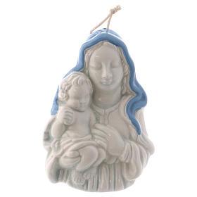 Icona Madonnina in ceramica Deruta bianca particolari blu 10x10x5 cm s4
