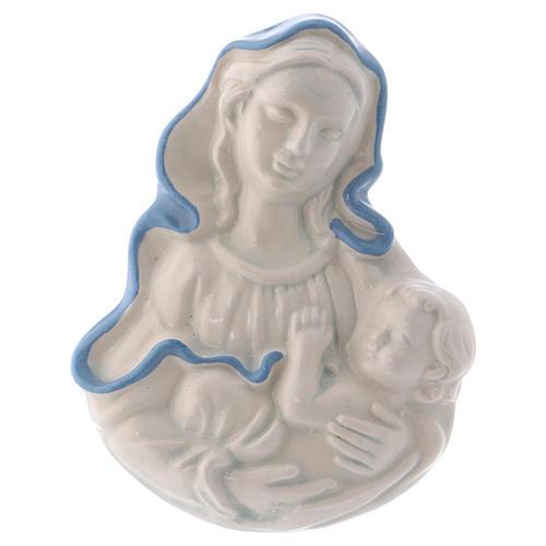 Icona Madonnina in ceramica Deruta bianca particolari blu 10x10x5 cm 1