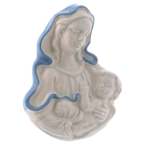 Icona Madonnina in ceramica Deruta bianca particolari blu 10x10x5 cm 2