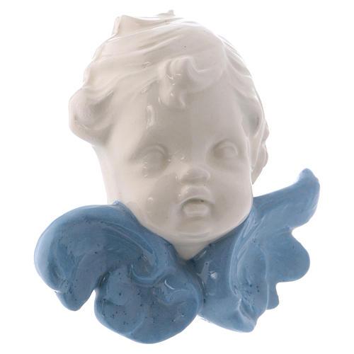 Icona Madonnina in ceramica Deruta bianca particolari blu 10x10x5 cm 11