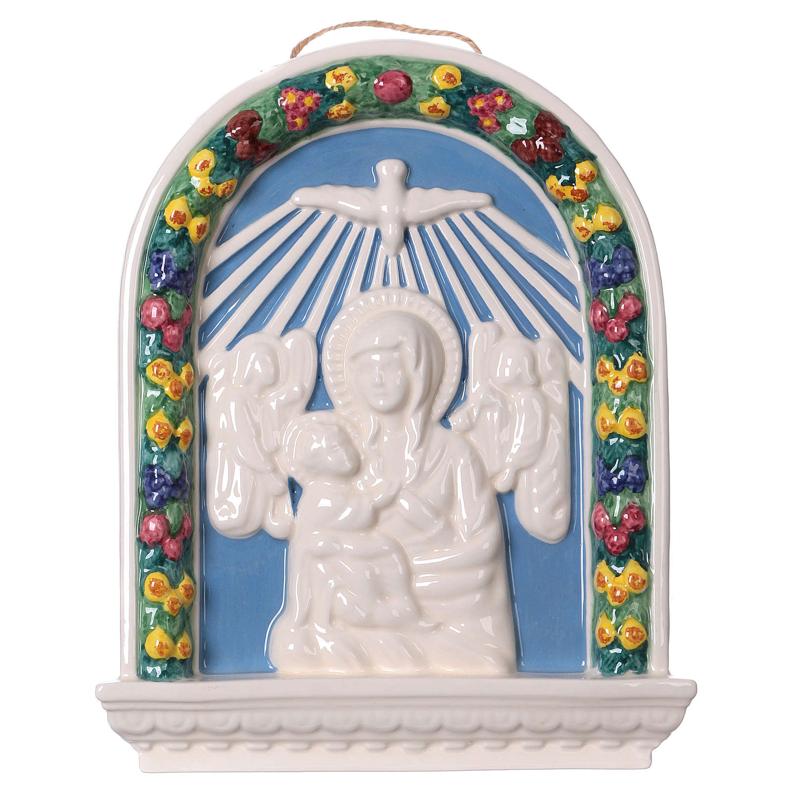 Painted ceramic bas-relief made in Deruta with Virgin Mary and Baby Jesus 30x25 4