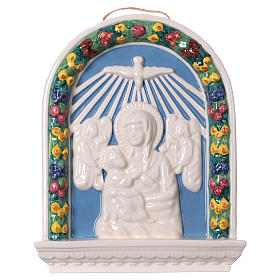 Painted ceramic bas-relief made in Deruta with Virgin Mary and Baby Jesus 30x25 s1
