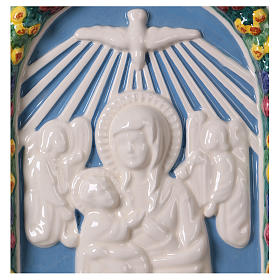 Painted ceramic bas-relief made in Deruta with Virgin Mary and Baby Jesus 30x25 s2