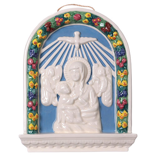 Painted ceramic bas-relief made in Deruta with Virgin Mary and Baby Jesus 30x25 1