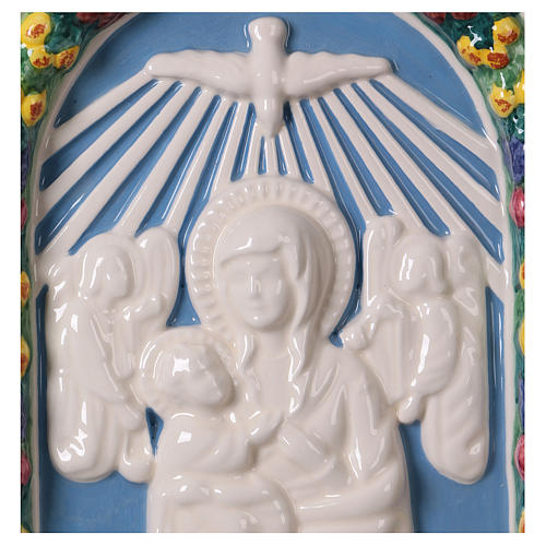 Painted ceramic bas-relief made in Deruta with Virgin Mary and Baby Jesus 30x25 2