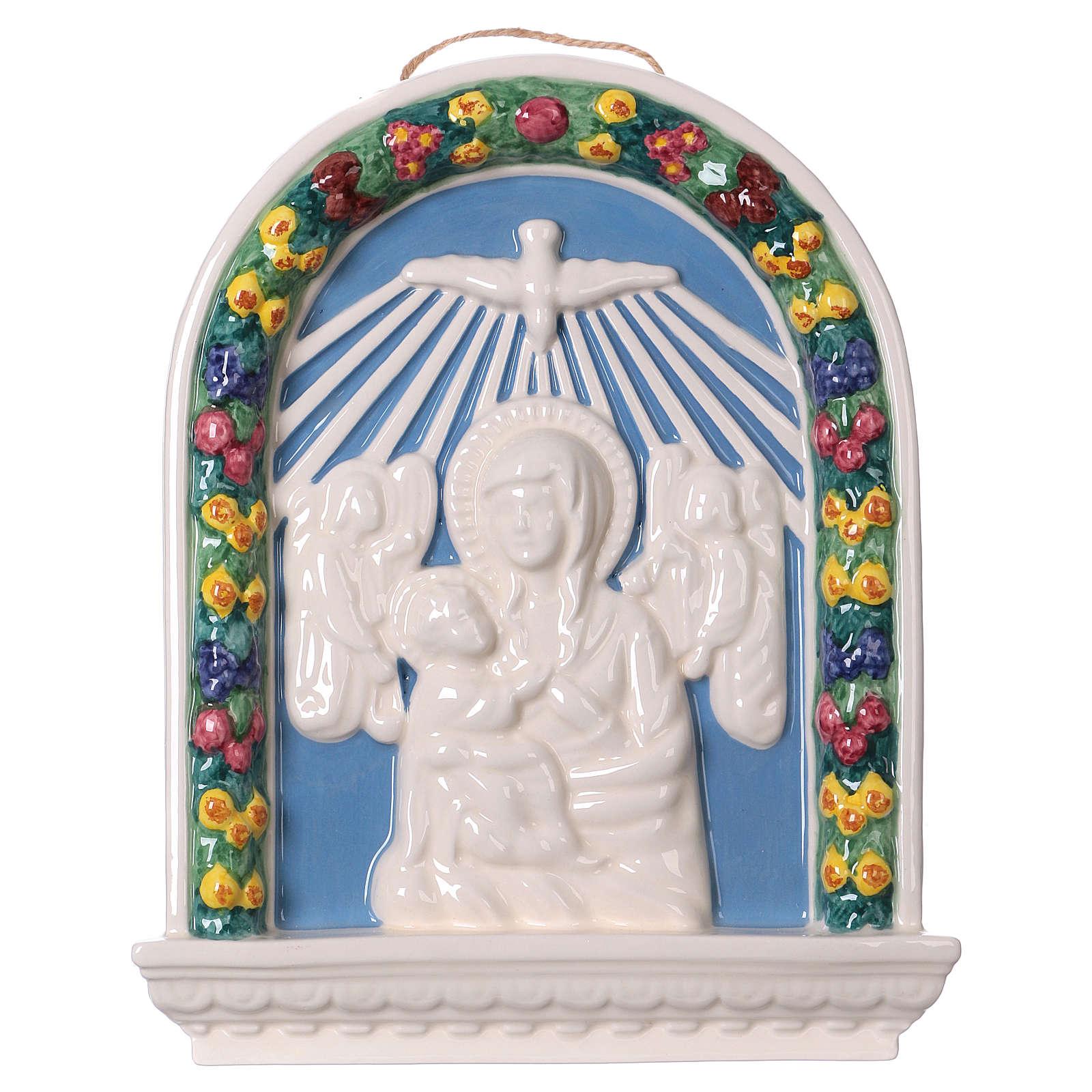 Bassorilievo ceramica Madonna bimbo in braccio 30x25 Deruta 4