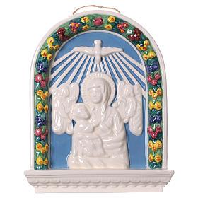 Bassorilievo ceramica Madonna bimbo in braccio 30x25 Deruta s1