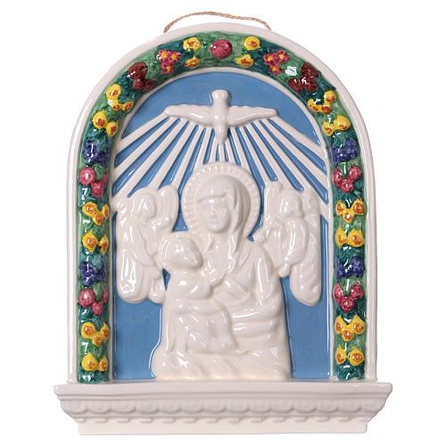 Bassorilievo ceramica Madonna bimbo in braccio 30x25 Deruta 1