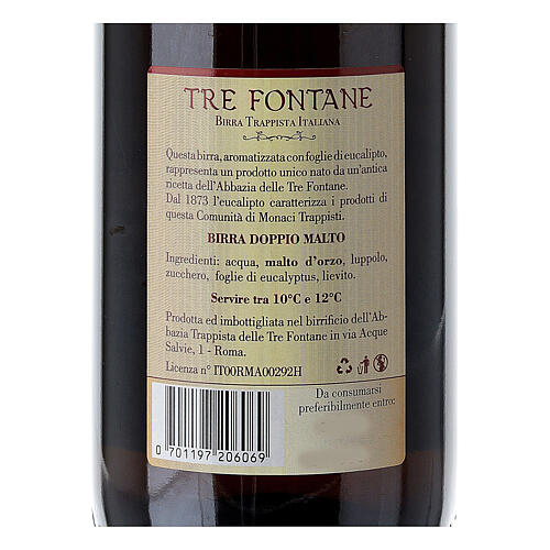 Trappist Monk beer, Tre Fontane Monastery 75cl 4