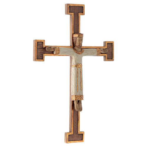 Crucifix en pierre, Chist, roi en blanc, croix marron 3