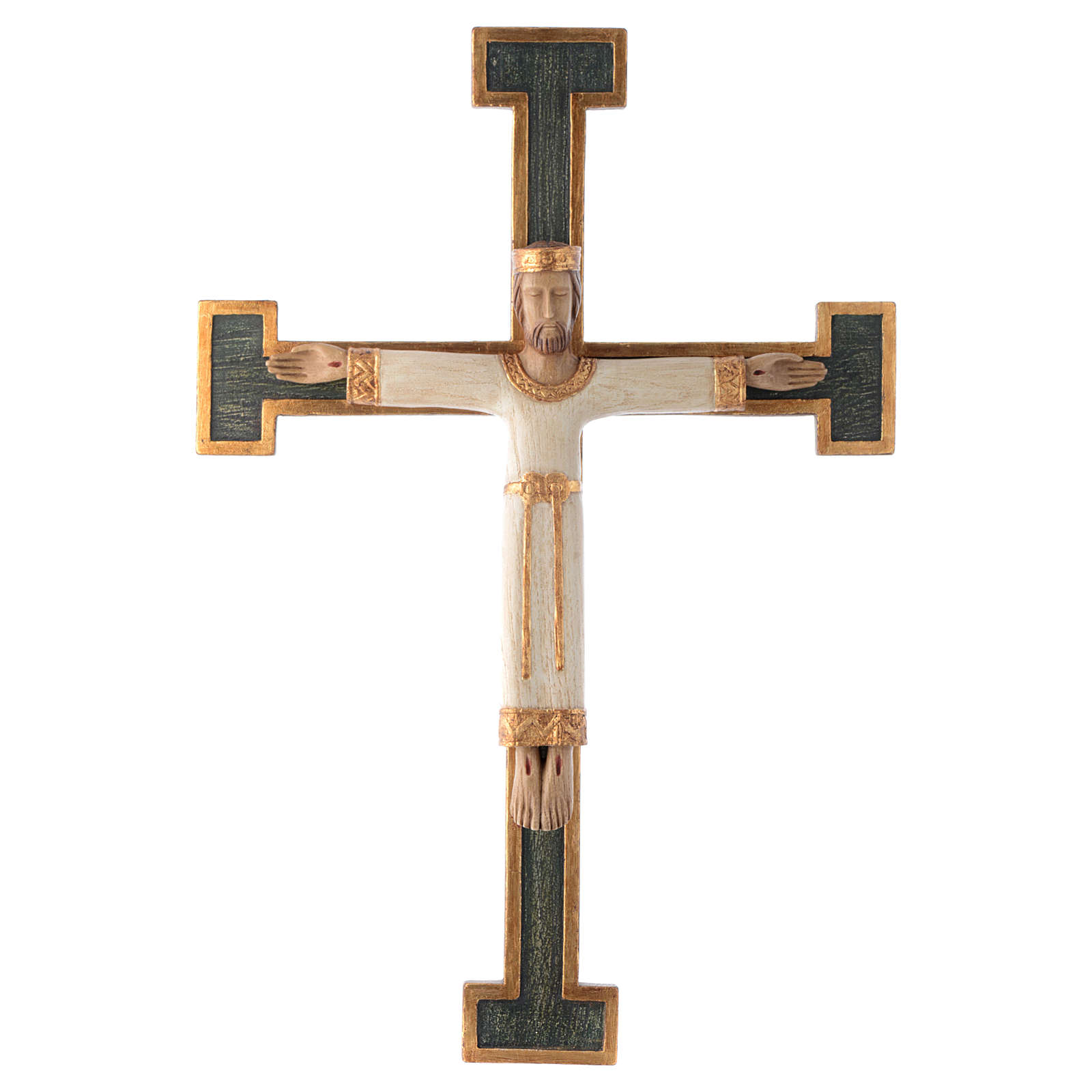 Crucifijo Sacerdote Rey blanco cruz verde 4