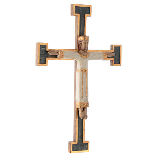 Crucifijo Sacerdote Rey blanco cruz verde 3