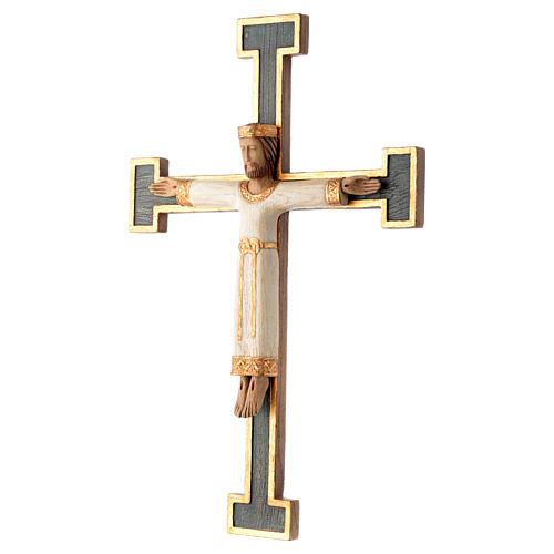 Crucifix Chist roi en blanc, croix verte en pierre 2