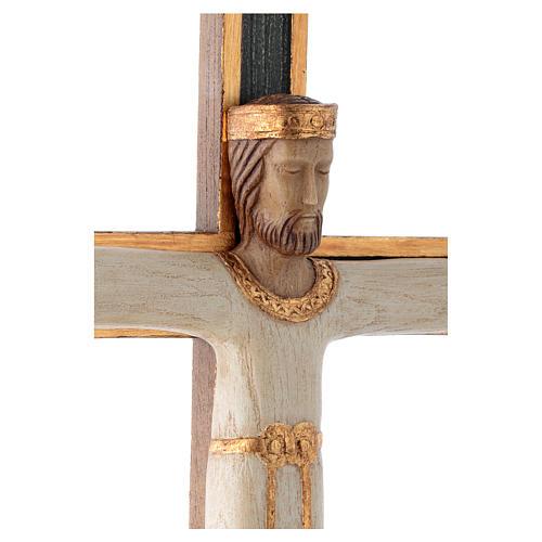 Crucifix Chist roi en blanc, croix verte en pierre 4