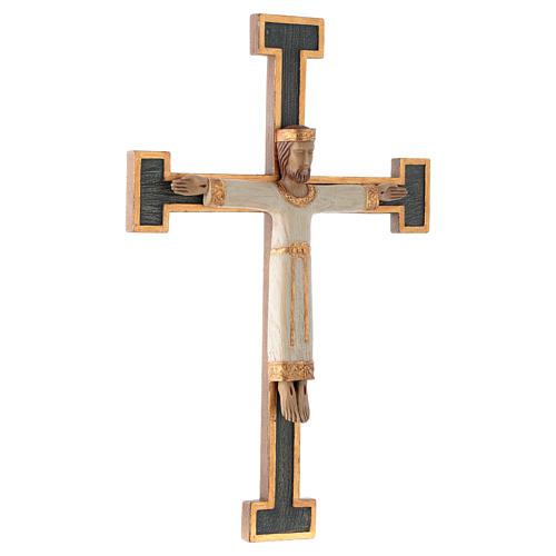 Krzyż Zbawiciel Król biały na krzyżu zielonym 3