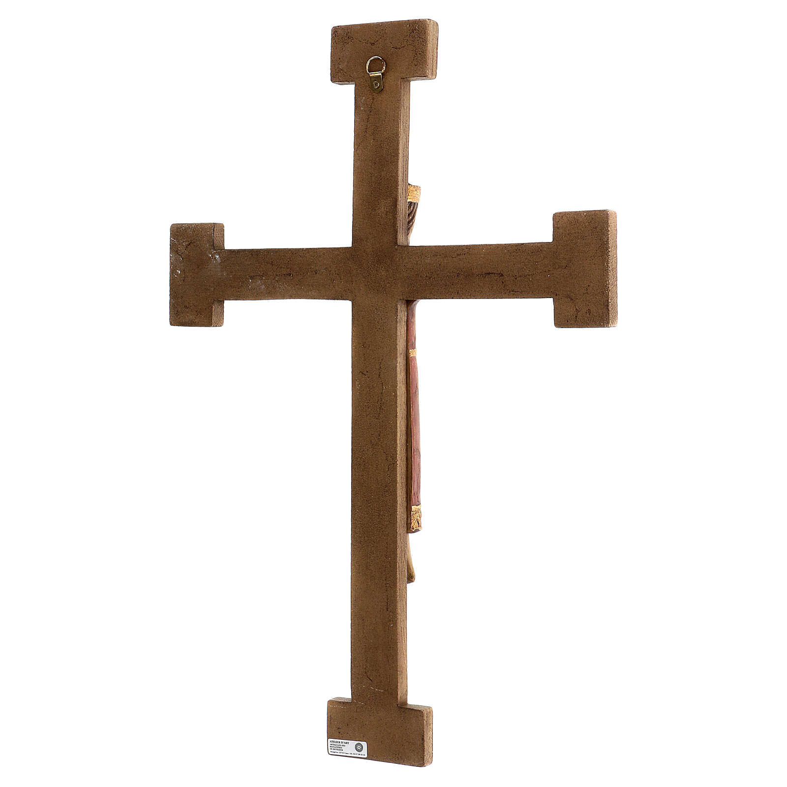 Cristo Sacerdote Rey vestido y cruz marrón 55x40 cm 4