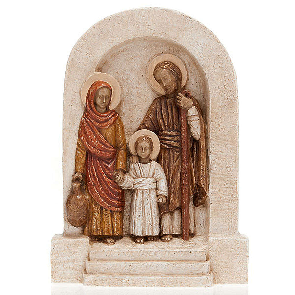 Bassorilievo Sacra Famiglia pietra chiara dipinto 4