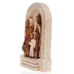 Bassorilievo Sacra Famiglia pietra chiara dipinto s2
