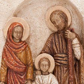 Bassorilievo Sacra Famiglia pietra chiara dipinto s4