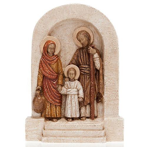 Bassorilievo Sacra Famiglia pietra chiara dipinto 1