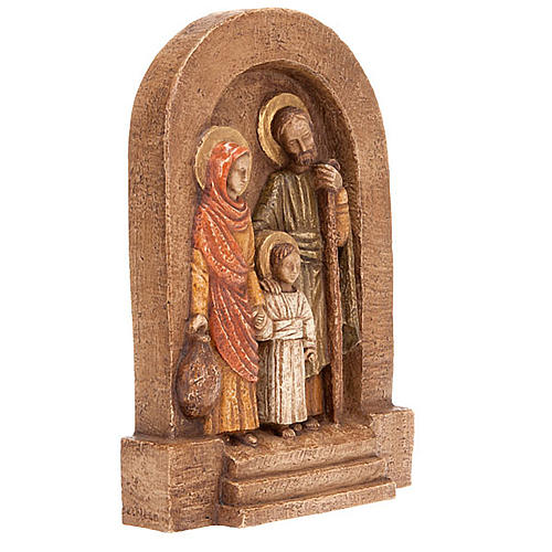 Holy Family Bas Relief in dark stone 2