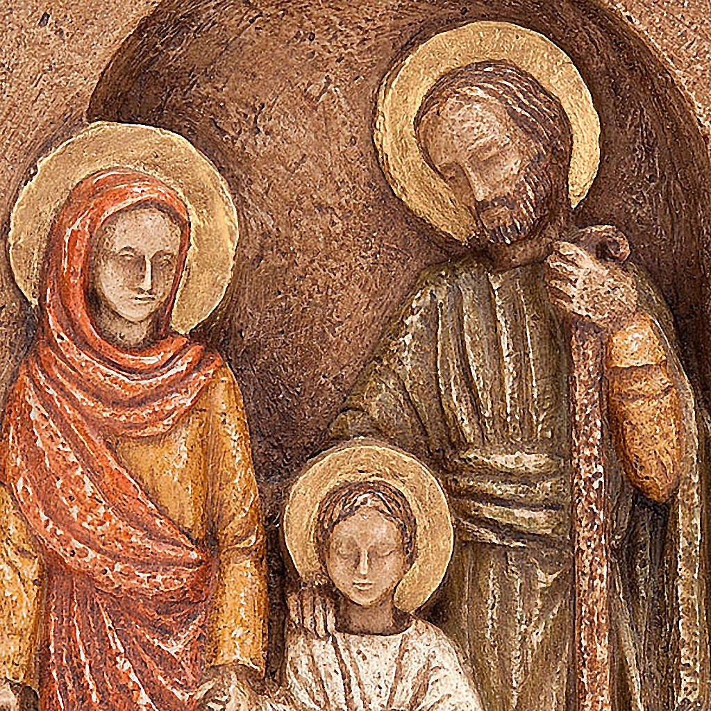 Holy Family Bas Relief in dark stone 4