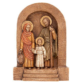 Holy Family Bas Relief in dark stone s1