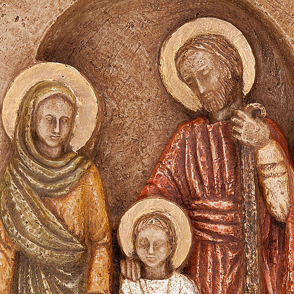 Bas-relief Sainte Famille, Marie en vert 4