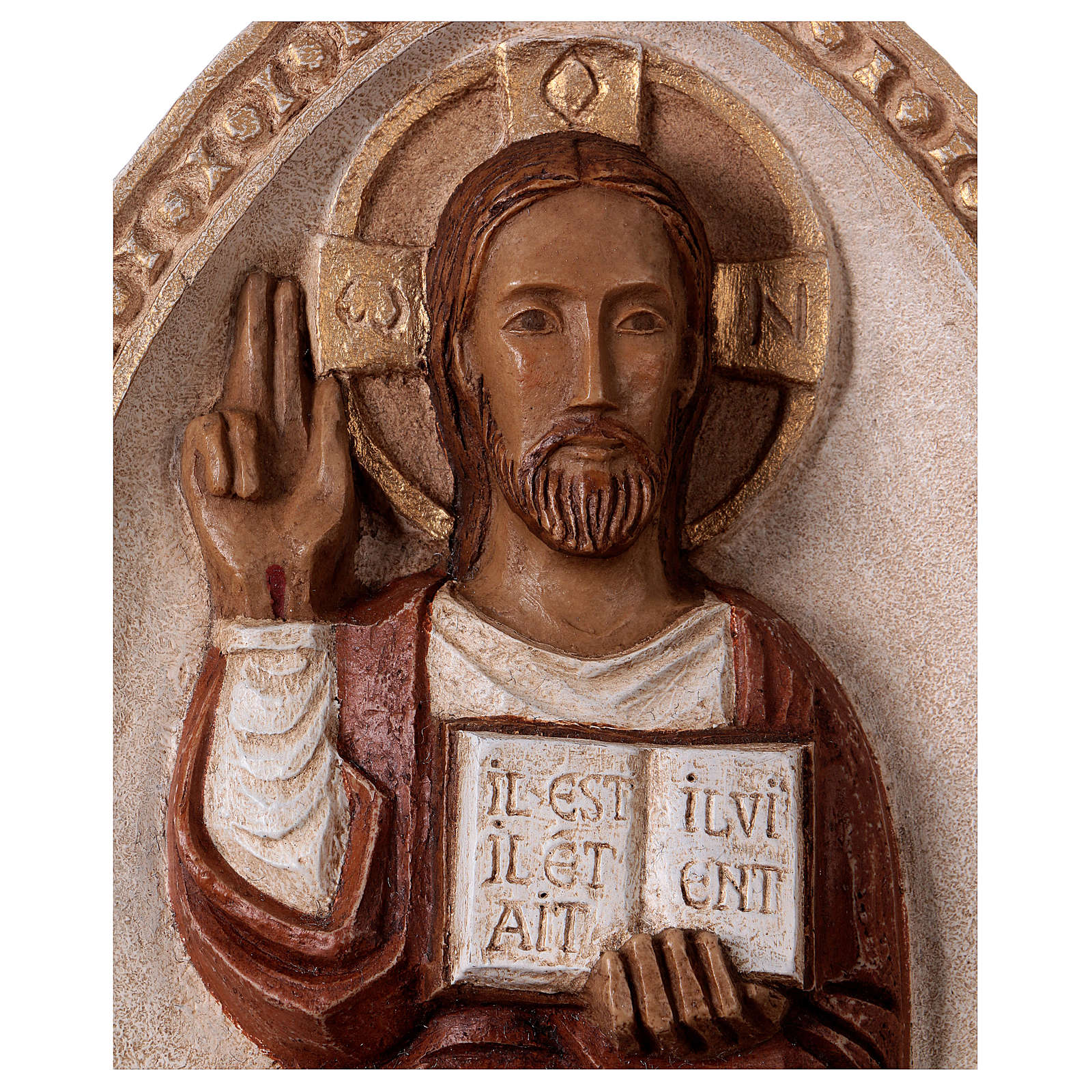 The Living Jesus bas-relief in stone, Bethléem, red mantel 4