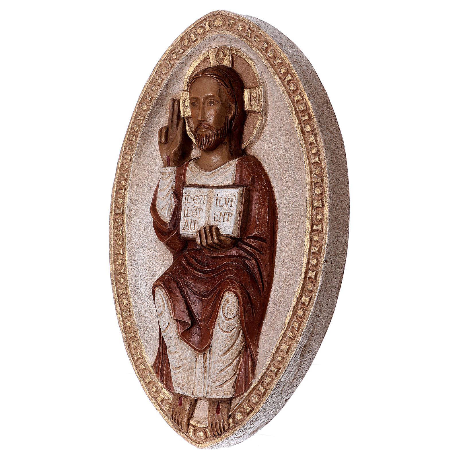 Bajorrelieve Jesús el Viviente vestido rojo 4