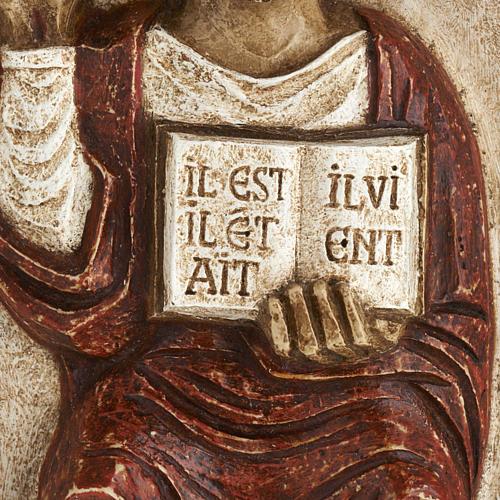 Bassorilievo Gesù il Vivente veste rossa 3