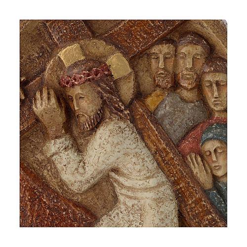 Bajorrelieve Jesús lleva la cruz piedra Belèn 22x17 cm 2